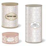 Retro tin can. box set round shape with vintage label Royalty Free Stock Photos