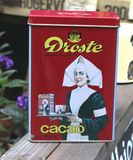 Retro tin with Droste cacao, brocante, vintage, Netherlands  Royalty Free Stock Images