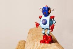 Retro tin robot, surprised face. Royalty Free Stock Image