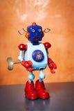 Retro tin robot, surprised face. Royalty Free Stock Photo