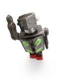 Retro tin robot toy. A  retro tin robot toy  on white background, top view Royalty Free Stock Photo