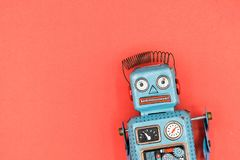 A retro tin robot toy isolated stock images