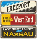Retro tin sign collection with Bahamas cities Royalty Free Stock Photos