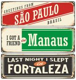 Retro tin sign collection with Brazil city names Stock Image