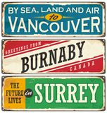 Retro tin sign collection with Canada cities stock illustration