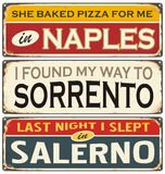 Retro tin sign collection with Italian city names.. Royalty Free Stock Images