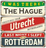 Retro tin sign collection with Netherlands city names Stock Image