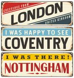 Retro tin sign collection with UK city names Royalty Free Stock Photo