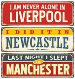 Retro tin sign collection with UK city names Royalty Free Stock Images