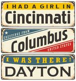 Retro tin sign collection with USA city names Royalty Free Stock Images