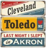 Retro tin sign collection with USA city names Stock Photos