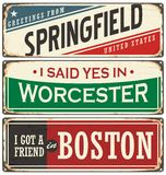 Retro tin sign collection with USA city names Royalty Free Stock Photography