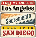 Retro tin sign collection with USA city names. Vintage tin sign collection with USA city names Stock Images