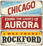 Retro tin sign collection with USA city names Stock Image