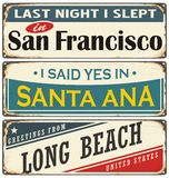 Retro tin sign collection with USA city names Stock Photography
