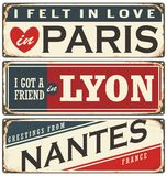 Retro Tin Sign Collection With French Cities Royalty Free Stock Photography