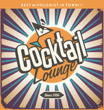 Retro tin sign design for cocktail lounge Stock Image