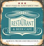 Retro tin sign for restaurant Royalty Free Stock Photo