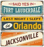 Retro tin sign templates collection with USA cities Royalty Free Stock Photo