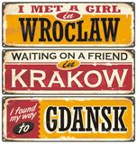 Retro tin signs souvenirs from Poland. Vintage postcards layouts with popular touristic destination in Poland. Places to visit and remember Stock Photography