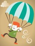 Retro tirante corporativo saltato assente con i suoi paracadute. Fotografia Stock Libera da Diritti