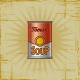 Retro Tomato Soup Can. In woodcut style. Decorative  illustration Royalty Free Stock Photography