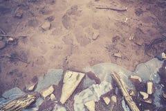 Retro tonad fryst sjö, abstrakt naturbakgrund Royaltyfri Bild