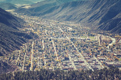 Retro toned aerial picture of Glenwood Springs residential area. Royalty Free Stock Image