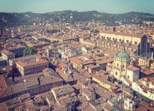 Retro toned aerial view of Bologna old town. Royalty Free Stock Photo