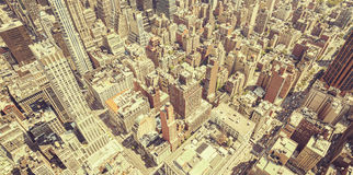 Retro toned aerial view of Manhattan, New York City, USA Royalty Free Stock Images