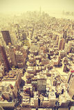 Retro toned aerial view of Manhattan, NYC, USA. Royalty Free Stock Image
