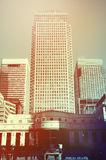 Retro toned Canary Wharf skyscrapers. Retro toned picture of skyscrapers in Canary Wharf, newer financial district of London, UK stock photography