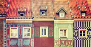 Retro toned colorful houses in Poznan. Royalty Free Stock Photo