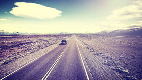 Retro toned country highway in Argentina. Royalty Free Stock Images