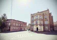 Retro toned empty street corner. Royalty Free Stock Photography