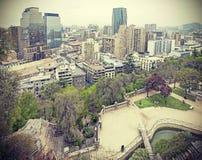 Retro toned photo of Santiago de Chile downtown. Royalty Free Stock Photos