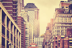 Retro toned picture of Manhattan buildings, NYC. Retro toned picture of old Manhattan buildings, New York City, USA stock photos