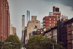 Retro toned picture of the New York City. Retro toned picture of the New York City on a rainy day, USA stock images