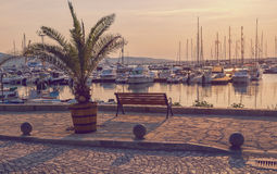Retro toned picture of a port. In Sozopol, Bulgaria Royalty Free Stock Images