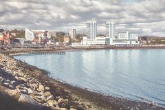 Retro toned picture of Puerto Montt city, Chile Royalty Free Stock Photography