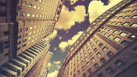 Retro toned skyscrapers in Manhattan NYC, USA Royalty Free Stock Images