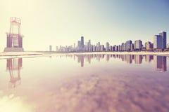 Retro toned sunrise in Chicago, USA. Stock Photography