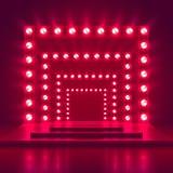 Retro toon stadium met lichte kaderdecoratie Het casino vectorachtergrond van de spelwinnaar Stock Foto's
