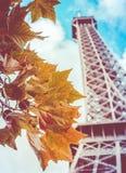 Retro Toren van Eiffel in de herfst Stock Fotografie