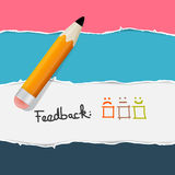 Retro Torn Paper. Feedback Background with Pencil. Retro Torn Paper - Feedback Background with Pencil Royalty Free Stock Photography