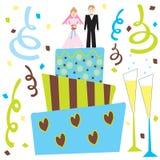 Retro torta di cerimonia nuziale e champagne Immagini Stock Libere da Diritti