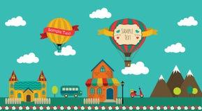 Retro Town Design. Vector Illustration Stock Image