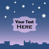 Retro town rooftops by night. Vector background with text place Royalty Free Stock Photos