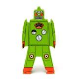 Retro toy. Retro green toy wooden robot on isolated white background Royalty Free Stock Photos