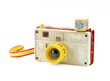 Retro toy camera. On a white background Royalty Free Stock Images